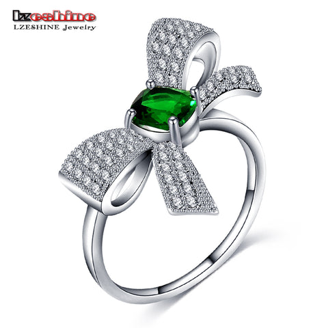 Lovely Bowknot Rings Female Jewelry Ring With Green Cz Stones Silver Color-iuly.com