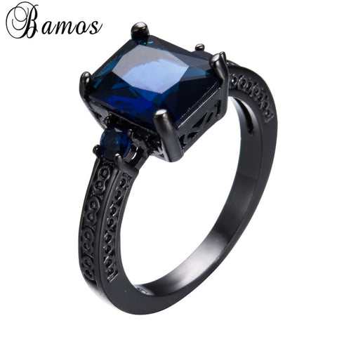 Female Male Blue Cubic Zircon Ring Black Gold Filled Wedding Party Engagement-iuly.com