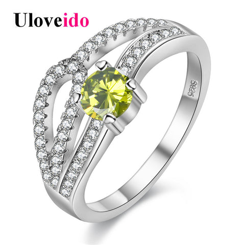 Wedding Rings Women Silver Color Costume Jewelry Ring Female Green Stone-iuly.com