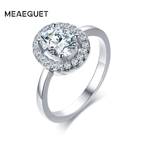 Meaeguet Silver Color Classic Engagement Ring Women Simple Prong Setting-iuly.com