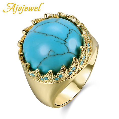 Brilliant Round Blue Natural Stone Female Ring Elegant Princess Ring Women-iuly.com
