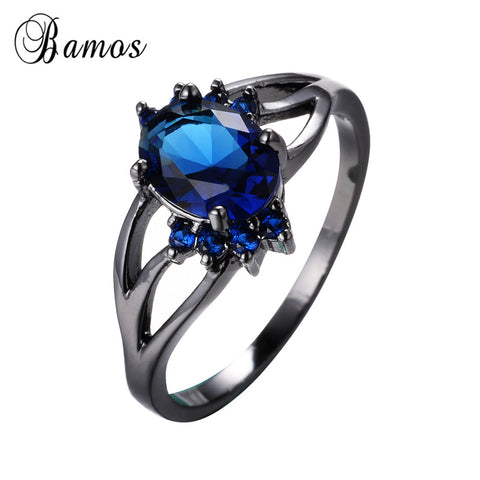 Blue Oval Zircon Stone Rings Female Male Black Gold Filled Wedding Party-iuly.com