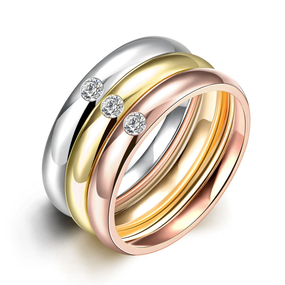 3 /Set Zircon 316L Stainless Steel Wedding Rings Women Gold Color Crystal-iuly.com