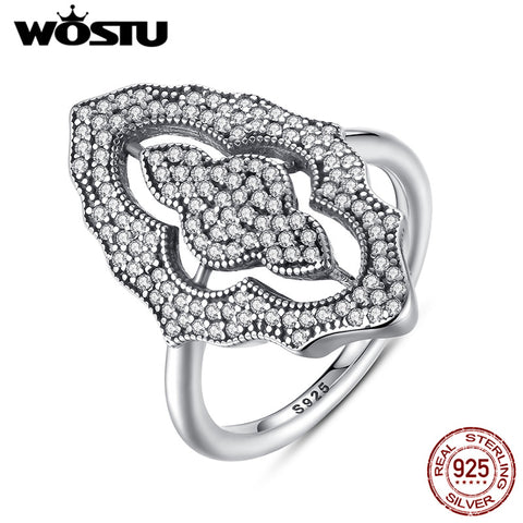 925 Sterling Silver Sparkling Lace Wedding Rings With Clear Cz Women Female-iuly.com