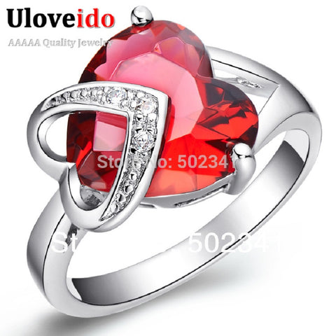 Wedding Rings Women Heart Red Engagement Ring Female Femme Marque De Luxe-iuly.com