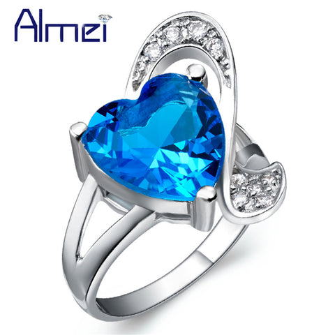 Bridal Silver Color Rings Women Female Wedding Ring Heart Red Crystal Blue-iuly.com