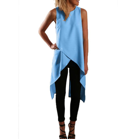 A22 Stylish 4 Colors Elegant Women Chiffon Blouse Sleeveless Round Nec-iuly.com