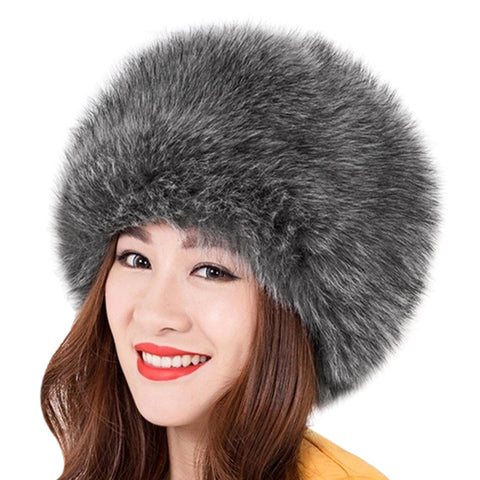 Women Winter Warm Soft Fluffy Faux Fur Hat Russian Cossack Beanies Cap-iuly.com
