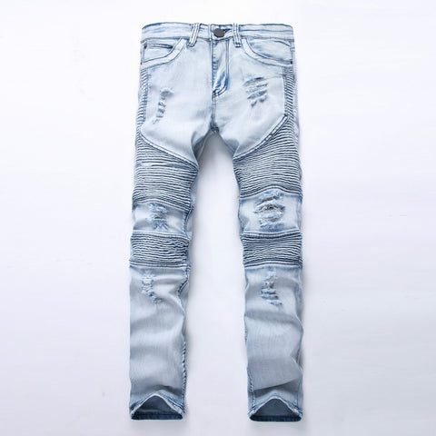 Fashion Mens Biker Denim Jeans Homme Fashion Ripped Jeans Slim Fitness-iuly.com