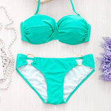 Summer Ladies Bikini Sets Solid Underwire Low Waist Backless Female Sw-iuly.com