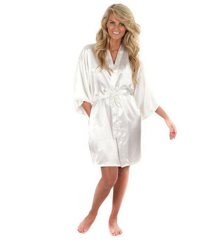 Women Silk Satin Short Night Robe Solid Kimono Robe Bath Robe Bathrobe-iuly.com