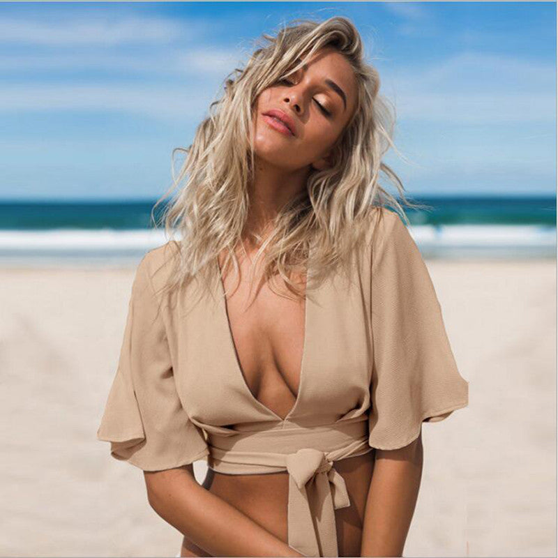 Deep V Neck Women Chiffon Bandage Swimsuit Cover Up Bikini Top Wholesa-iuly.com