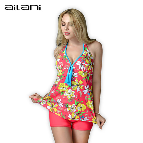 Plus Size Tankini Swimwear Women Summer Waist Print Floral Bathing Sui-iuly.com