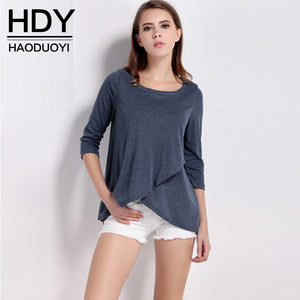 Haoduoyi Womens Brief Solid Loose Three Quarter Irregular T-Shirt Stre-iuly.com