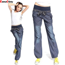 Load image into Gallery viewer, Autimn Loose Women Jeans Stretch Waist Wig Leg Denim Pants Lager Size-iuly.com