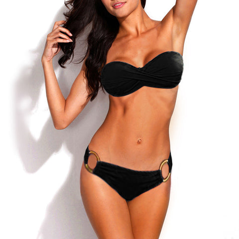 Metal Ring Design Push Up Bandeau Bikini Set Strapless Steel Support P-iuly.com