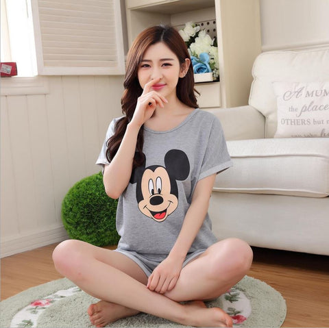 Women Casual Pajamas Set Cartoon Printing Round Neck Short Sleeve Pyja-iuly.com
