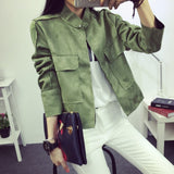 Early Autumn Retro Suede Casual Jacket Women All-Match Military Green-iuly.com
