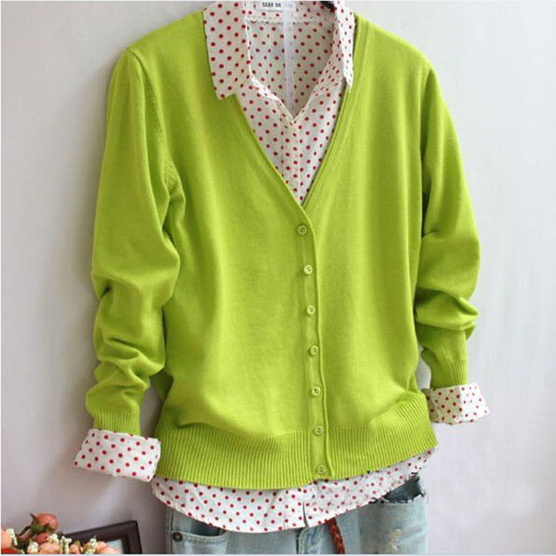 Arrived Women Clothing Candy Color Sweater Knitted Cardigan Long-Sleev-iuly.com