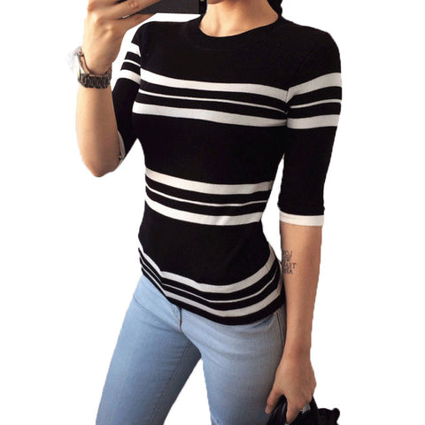 Black White Striped Clothes Women Summer Clothes Femme O-Neck Long Sle-iuly.com