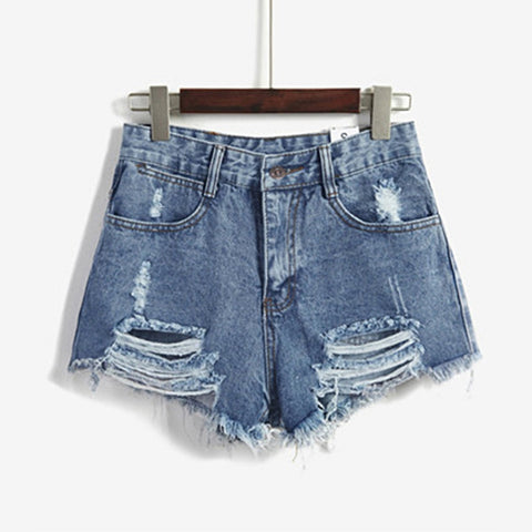 Desmiit Summer Female Waist Denim Shorts Women Worn Loose Burr Hole Sh-iuly.com