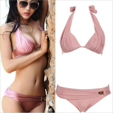 Bikinis Women Swimsuit Low Waisted Bathing Fleshcolor Suits Swim Halte-iuly.com
