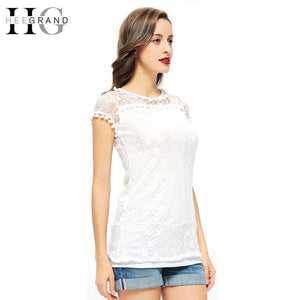Heegrand Sleeveless Women Tops Basic Solid T-Shirt With Lace White Tee-iuly.com