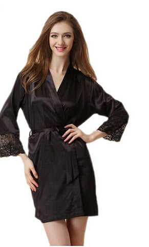 Mid-Sleeve Women Nightwear Robes Plus Size M L Xl Xxl Lace Real Silk F-iuly.com