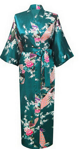 Long Robe Satin Rayon Bathrobe Nightgown For Women Kimono Sleepwear Fl-iuly.com