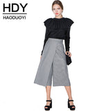 Hdy Haoduoyi Office Lady Wool Blends Pants Waist Houndstooth Women Wid-iuly.com