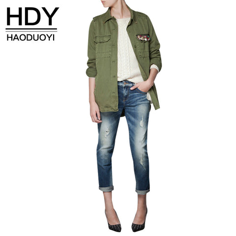 Hdy Haoduoyi Navy Green Short Trench Turn-Down Collar Outwears Diamond-iuly.com