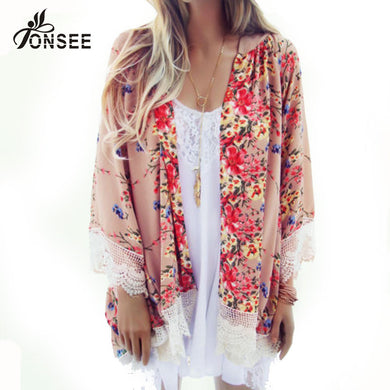6 Color Autumn Women Lace Kimono Cardigan Womens Bohemian Tops Floral-iuly.com
