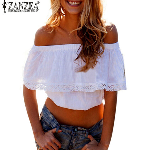 Blusas Summer Style Womens Boho Blouse Women Lace Patchwork Casual Off-iuly.com