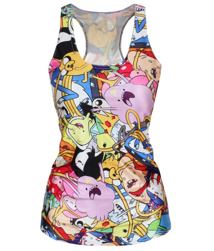 Adventure Time Colorful Cartoon Role Printed Fitness Casual W-iuly.com