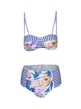 Load image into Gallery viewer, Blooming Jelly Push Up Waist Bikini Women Striped Floral Print Straple-iuly.com
