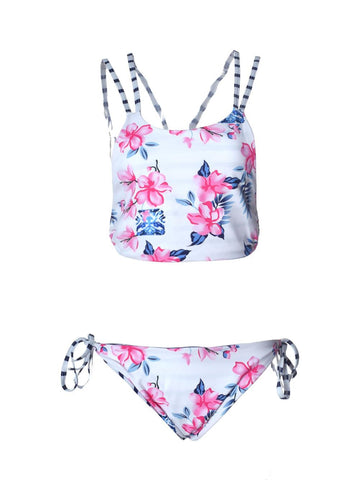 Blooming Jelly String Tie Up Back Cross Neck Girls Bikini Flower Print-iuly.com