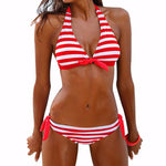 Bikinis Women Swimsuit Swimwear Female Halter Top Plaid Brazillian Bik-iuly.com