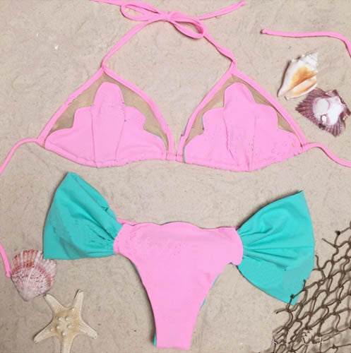 Sweet Cameo Shell Bikini Patchwork Mesh Shell Swimsuit Beach Swimwear-iuly.com