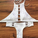 Neck Bikini Bandage Swimwear Cut Out Swimsuit Retro Halter Bikini Set-iuly.com