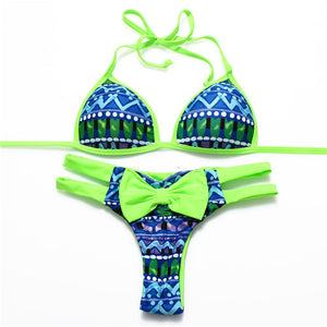 Tip Up Bow Women Leoprad Bikini Swimwear Geometric Printed Bathing Sui-iuly.com