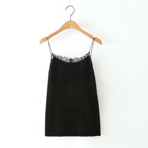 Dt83 American Summer Women Vintage Velour Backless Sleeveless Camis La-iuly.com
