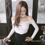 Slash Neck Pink Women Off Shoulder Top Short Slim T Shirt Cotton Long-iuly.com