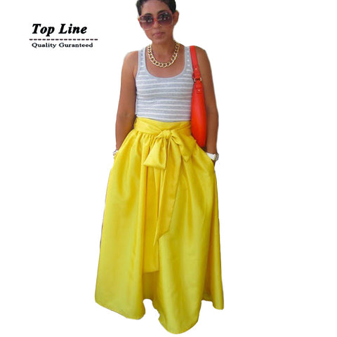 2Colors Waisted Tied Bow Decoration Women Long Skirt Ladies Floor Leng-iuly.com