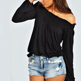 Blusas Autumn Women Ladies Solid Shirred Off Shoulder Tops Casual Long-iuly.com