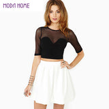 Top Women Crop Top Mesh Cutout Sweetheart Neckline Tops Ladies Short S-iuly.com
