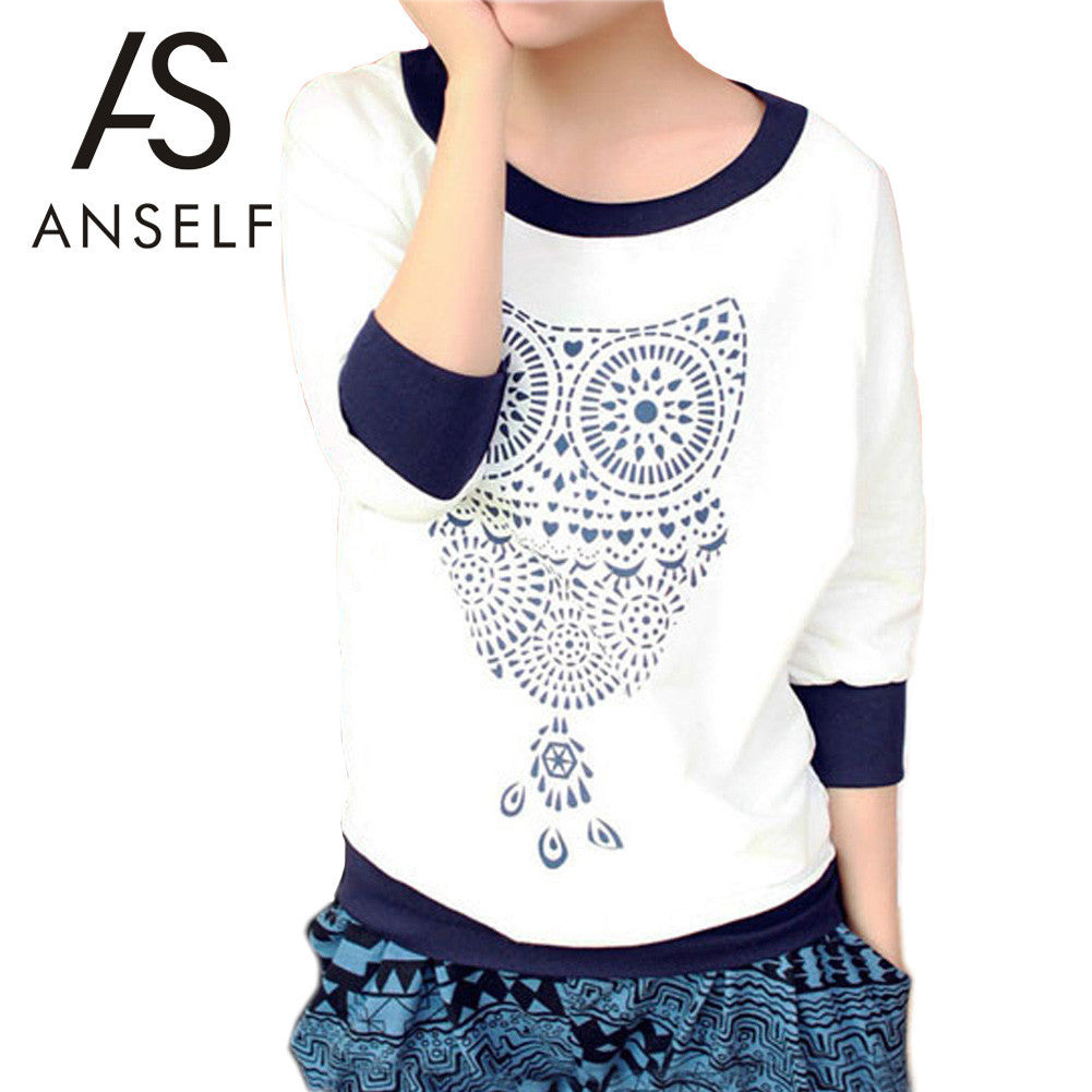 Anself Autumn Cute Owl Sweatshirt Animal Print Batwing Shirt Beading H-iuly.com