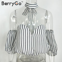 Load image into Gallery viewer, Berrygo Elegant Black Striped Chiffon Blouse Shirt Bow Summer Style Gi-iuly.com