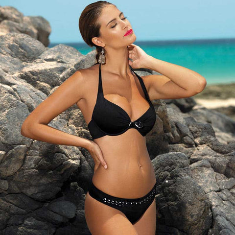 Bikini Push Up Swimwear Women Swimsuit Retro Vintage Beach Bathing Sui-iuly.com