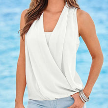 Load image into Gallery viewer, Awaytr Blouses Women White Sleeveless Chiffon Blouse Deep V Neck Chiff-iuly.com