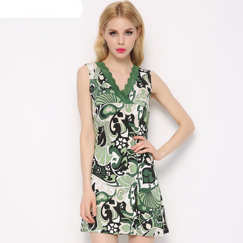 Summer Pijamas Mujer Sleepwear For Women V-Neck Sleeveless Nightgown S-iuly.com